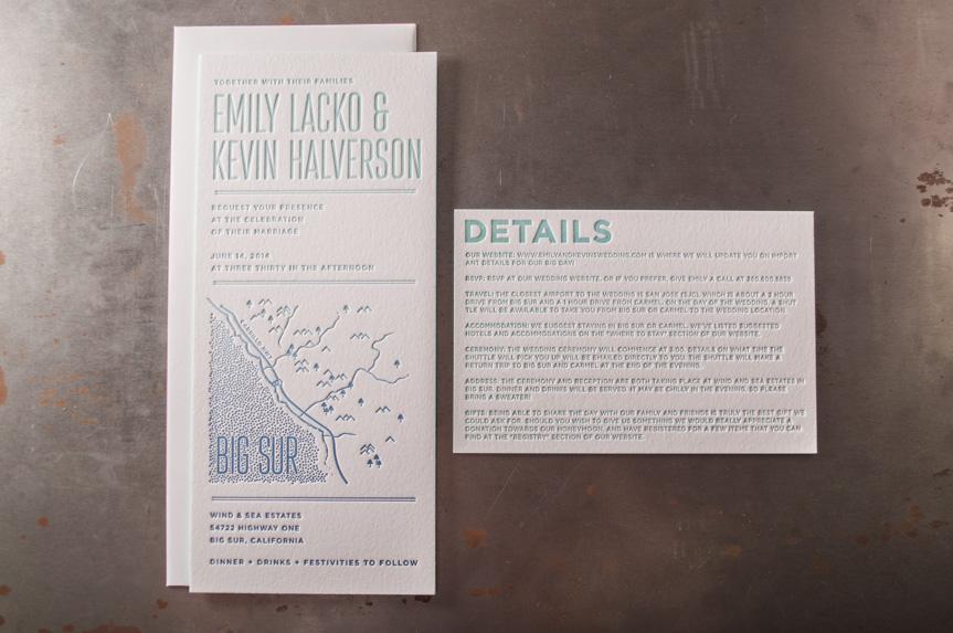 wedding details card seattle letterpress printing design studio