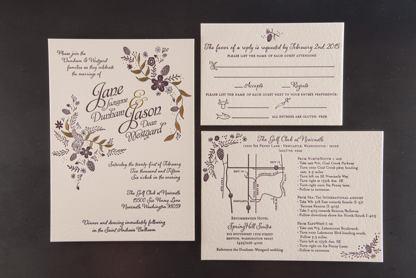 wedding invitation design peacock gold foil seattle golf course design flor invitations letterpress foil