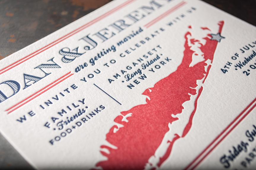 red white and blue letterpress wedding invitation