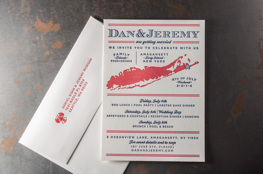 4th of july wedding invitations letterpress printing long island new york custom design