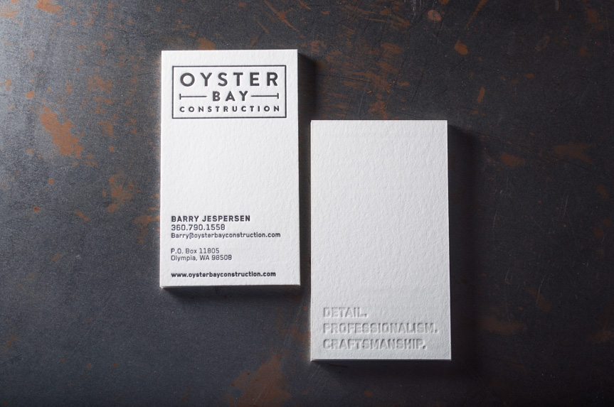 construction business card design letterpress printing seattle
