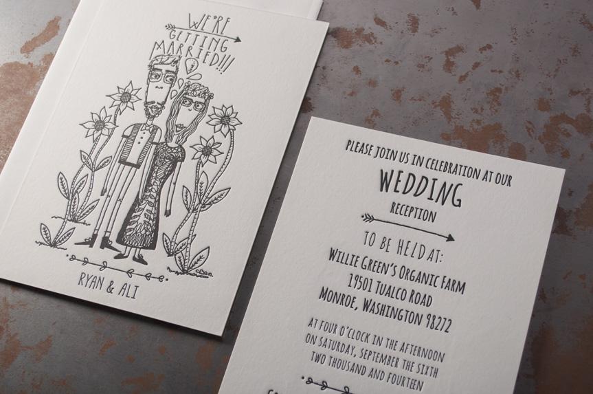 custom illustration wedding design seattle letterpress