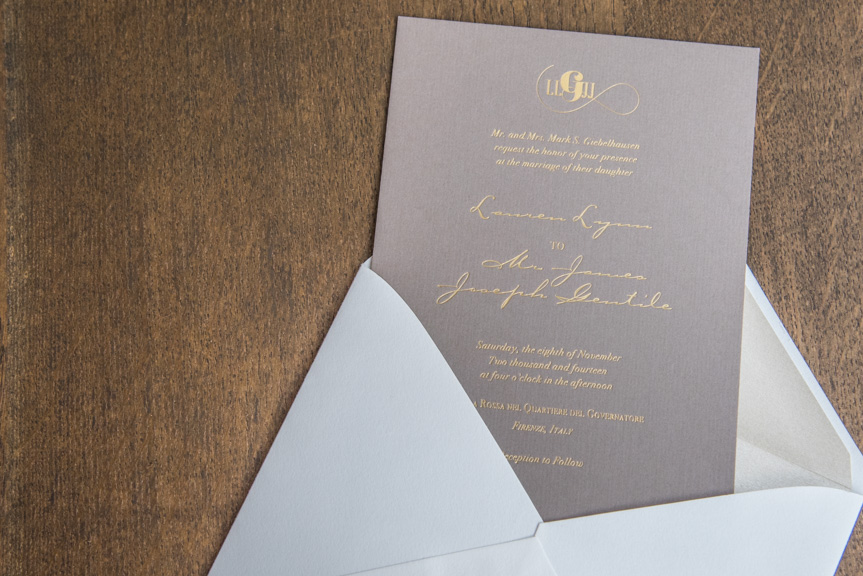 gold foil on grey wedding invitation letterpress weddings in woodiville printers seattle custom design