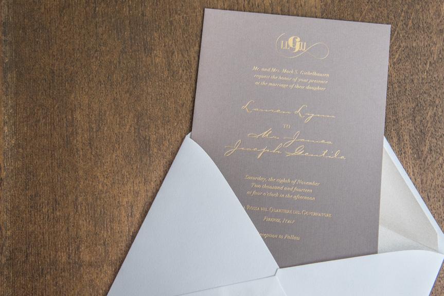 gold foil on grey wedding invitation letterpress weddings in woodiville printers seattle custom design