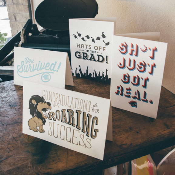 graduation-day-holiday-card-greeting-letterpress-printing-success-survive-got-real-hats-off-lion