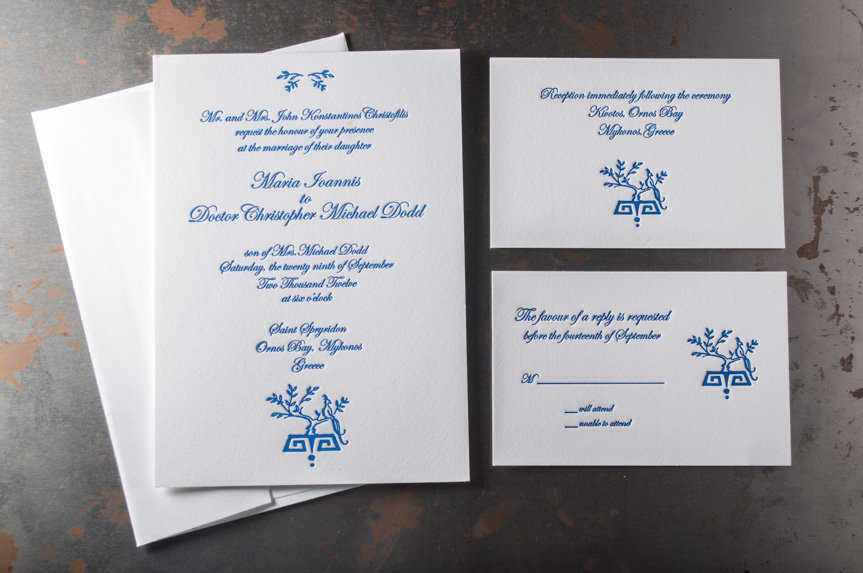 greek wedding invitation design letterpress printed seattle destination
