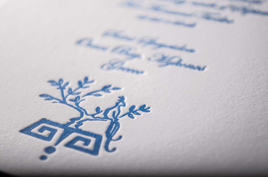 greek wedding invitation design letterpress printed seattle icon