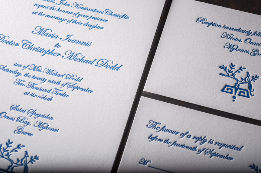greek wedding invitation design letterpress printed seattle
