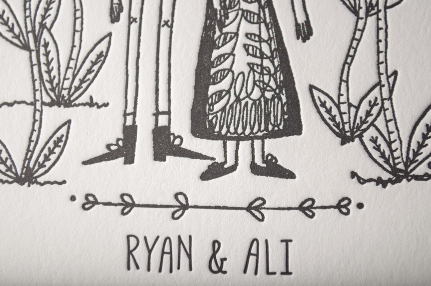 hand drawn wedding invitations illustration design seattle printing letterpress studio