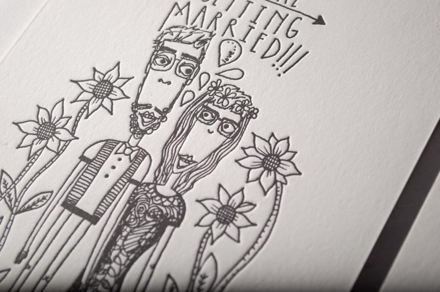 illustration wedding invitation printing seattle custom design