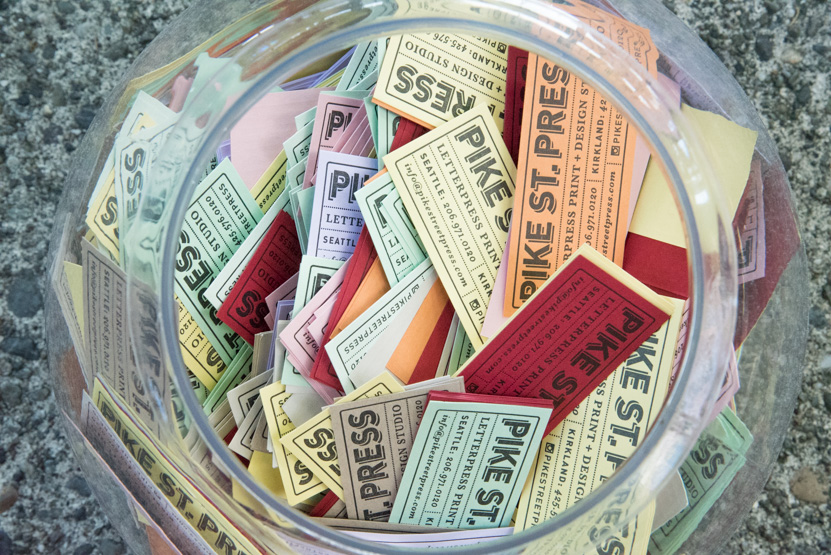 letterpress business cards colored paper fish bowl ticket card