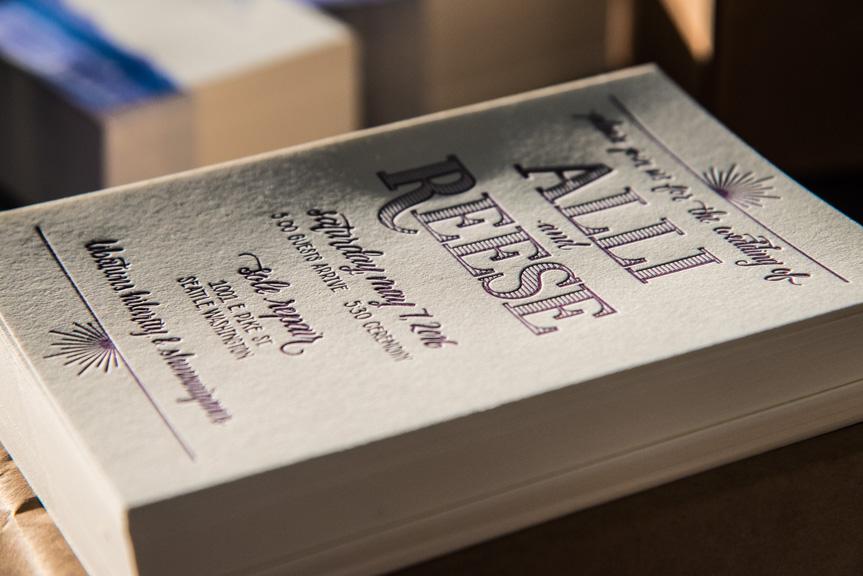 simple letterpress wedding invitation
