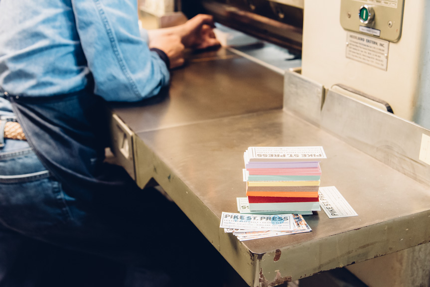 letterpress printing machine paper colored papers business cards print studio seattle custom design mini small cards