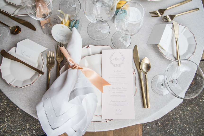 pink custom letterpress wedding invitation