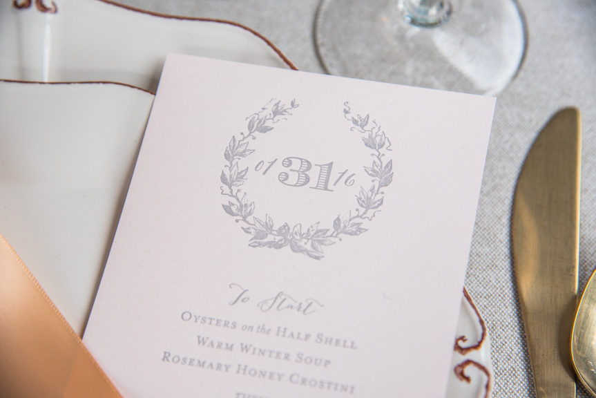 pink menu grey ink letterpress wedding menus custom design bombshell gold designers seattle