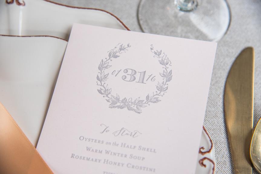 pink menu grey ink letterpress wedding menus custom design bombshell gold designers seattle