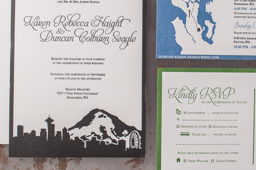 seattle skyline invitation design letterpress printing