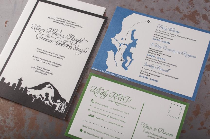 seattle wedding invitation design skyline puget sound suite designers