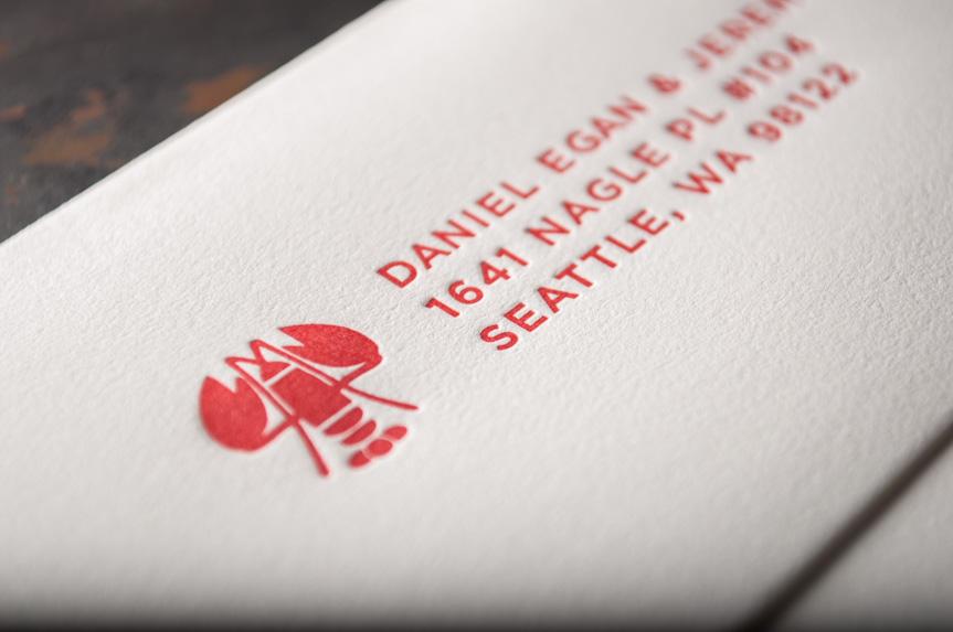 wedding invitation envelope design seattle letterpress printing