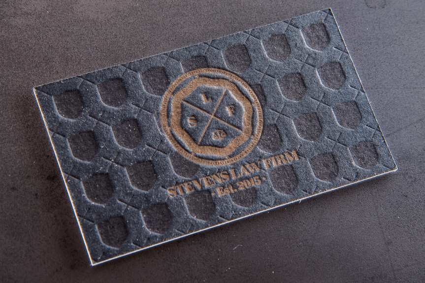 business card letterpress black blind deboss impression pattern duplex