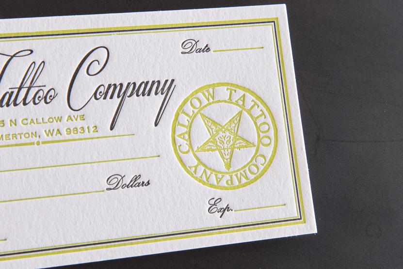 bremerton letterpress tattoo company gift certificate ideas