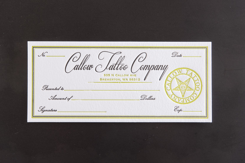 yellow and black letterpress business card