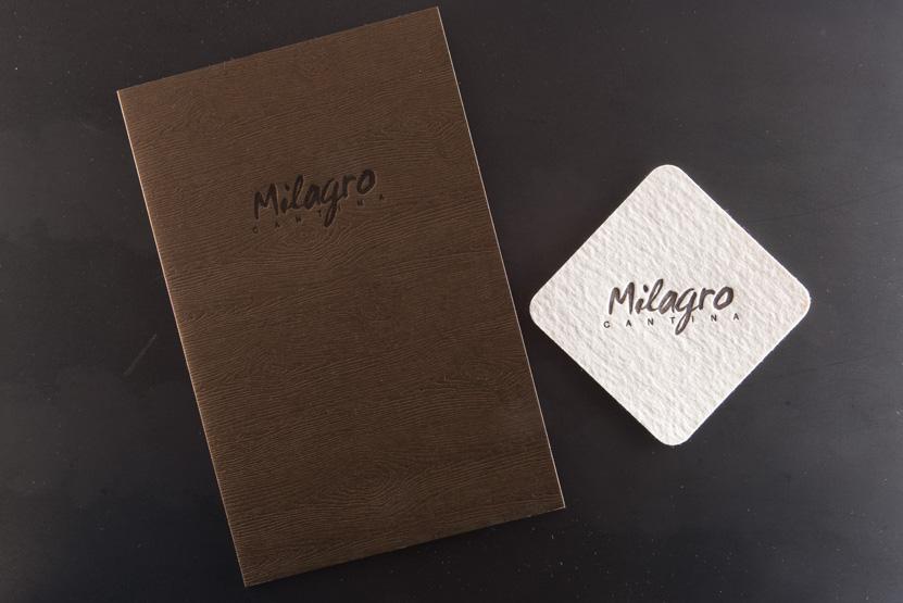 milagro cantina menus letterpress printing seattle coaster pressed cover