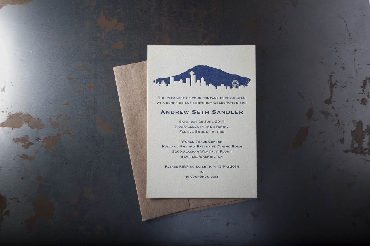 Seattle Skyline Wedding Invitations Pike Street Press