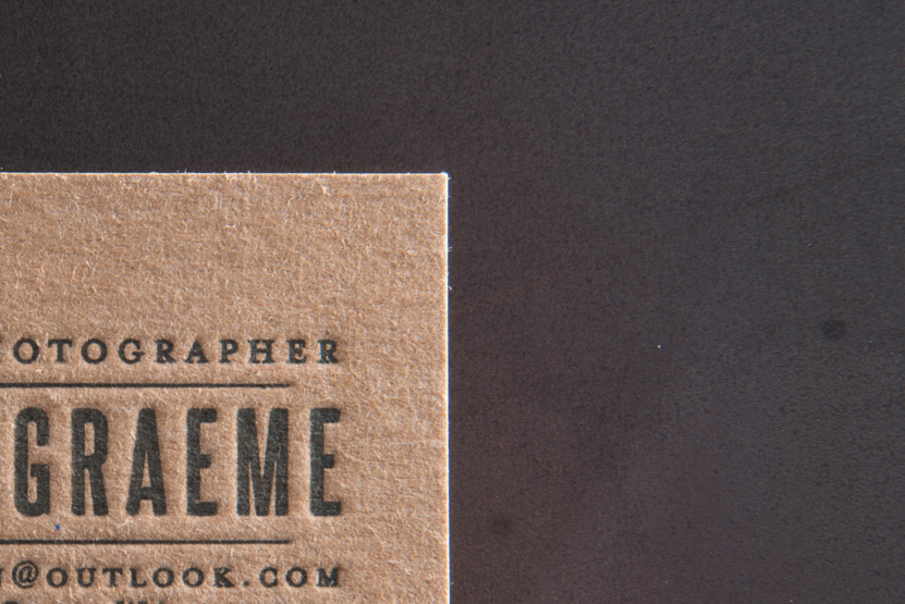 business card printing seattle letterpress print press custom graphic designer photographer kraft paper