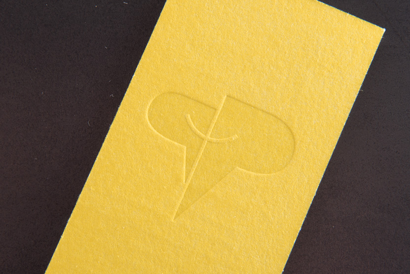 business card printing seattle letterpress print press custom graphic designer yellow on yellow paper