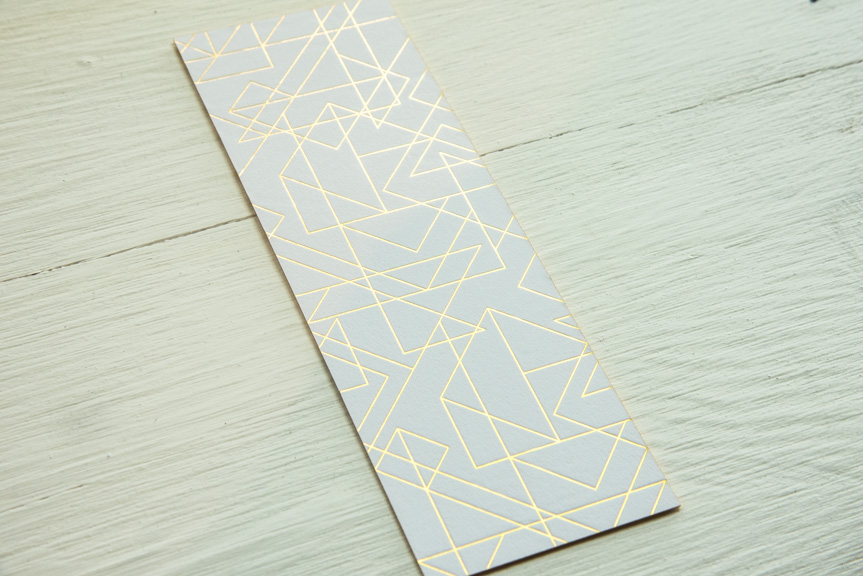 gold foil prism bookmark printing seattle letterperss custom design