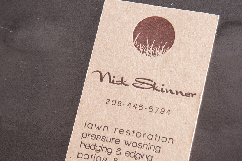 landscape design business card printing seattle letterpress print press custom graphic kraft designer