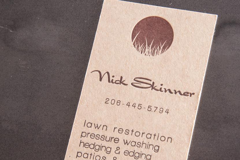 landscape design business card printing seattle letterpress print press custom graphic kraft designer