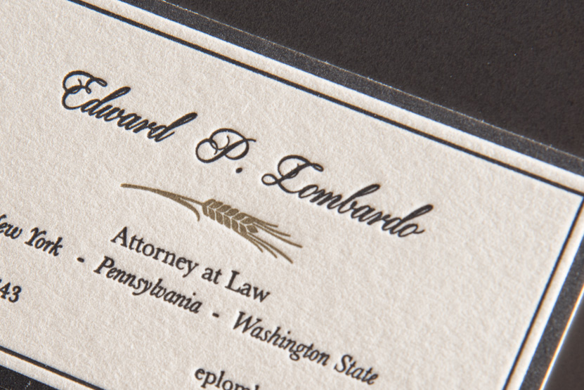 lawyer attorney business card printing seattle letterpress print press custom graphic designer