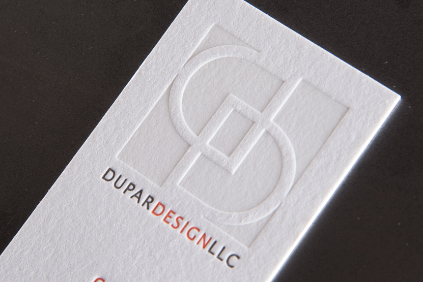 red and black letterpress business card