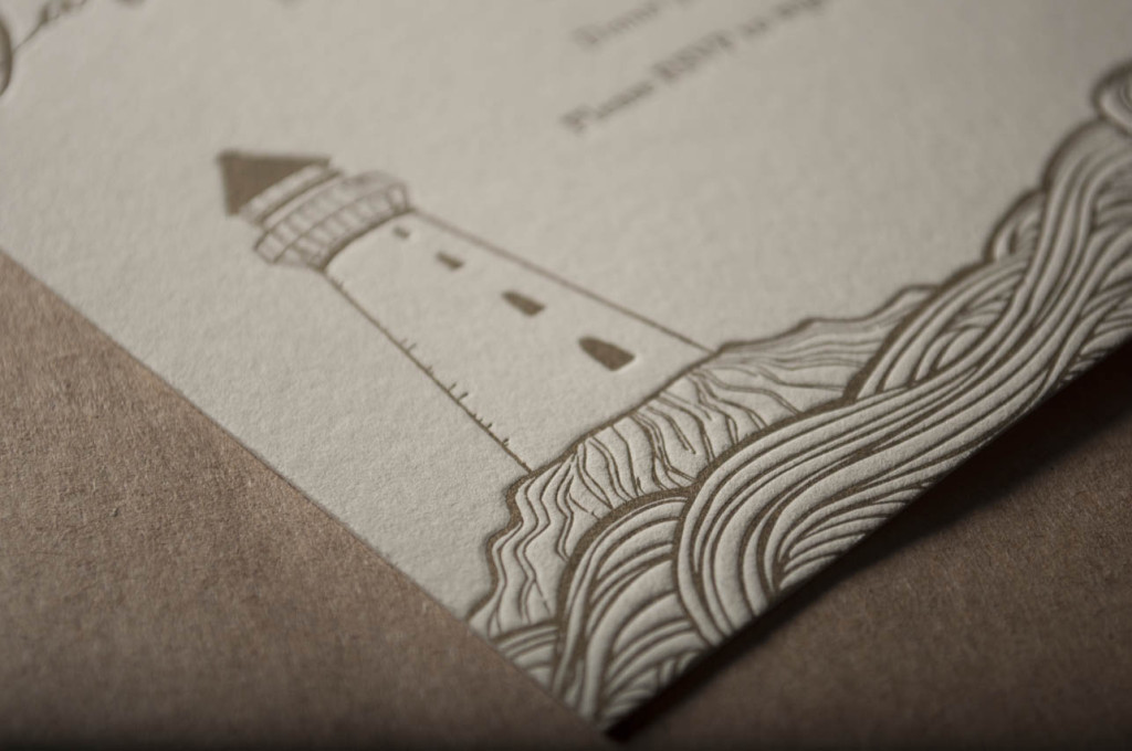 light house wedding invitation design hand drawn seattle letterpress printing