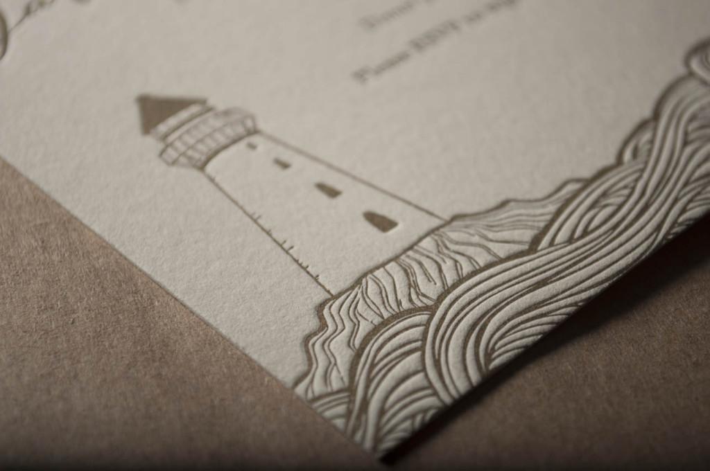 light house wedding invitation design hand drawn seattle letterpress printing