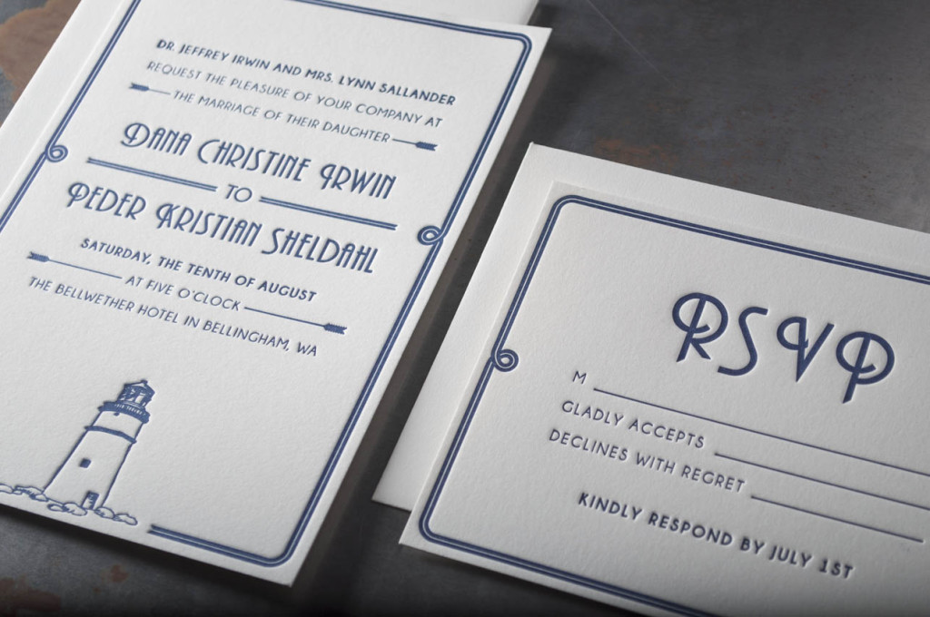 lighthouse-letterpress-wedding-invitations-custom-bellwether hotel bellingham