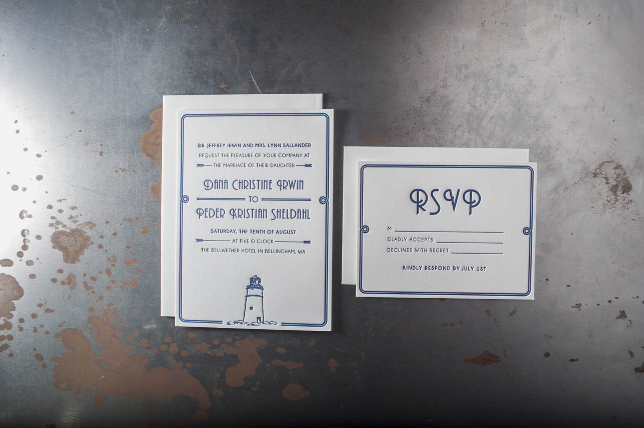 lighthouse letterpress wedding invitation