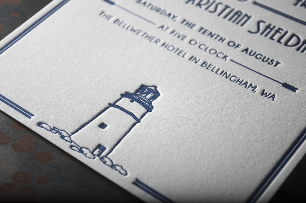 lighthouse-letterpress-wedding-invitations-custom-design-bellwether hotel bellingham