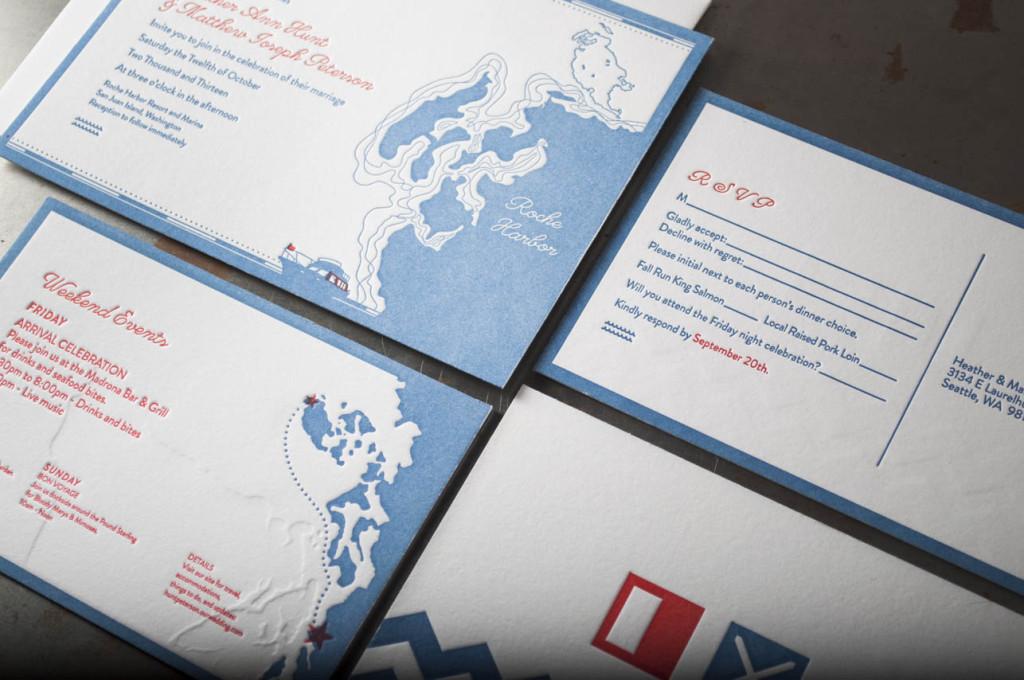 blue and red letterpress wedding invitation