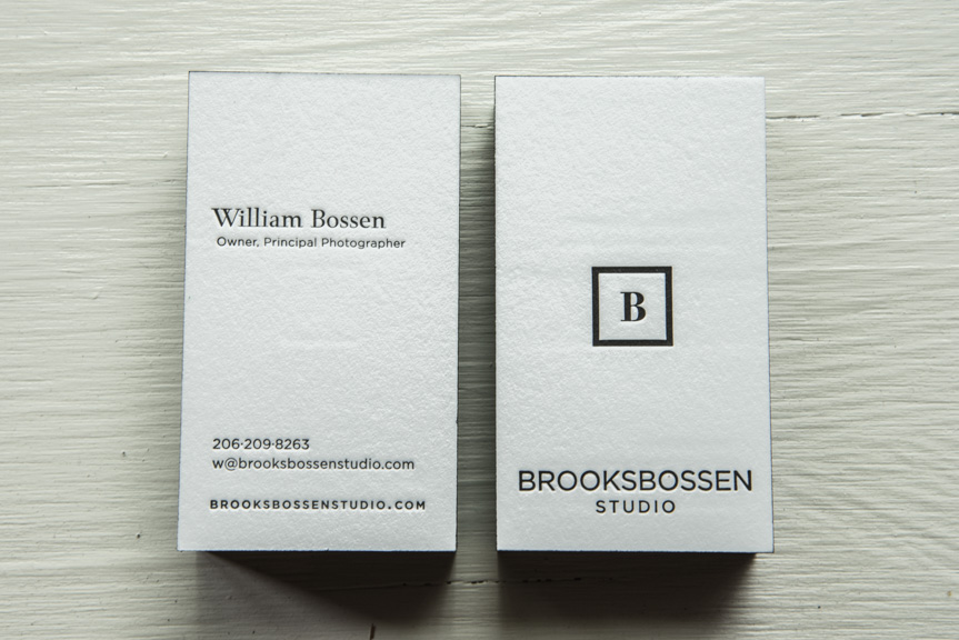 Bossen photography pike street press photography studio business cards letterpress black edgepaiting modern clean seattle printers custom design reheart Gallery