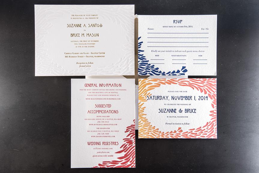 rsvp info card wedding invite suite split ink fade letterpress edge painting 220 lb gold foil printing envelope liner lettra