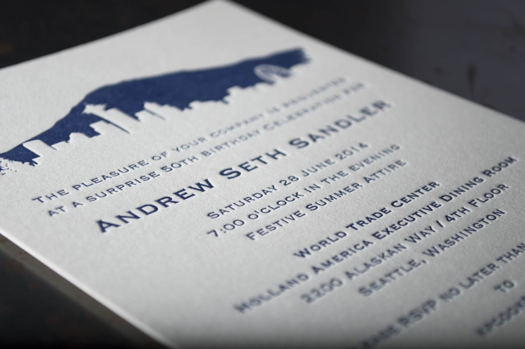 seattle skyline wedding invitations letterpress printing