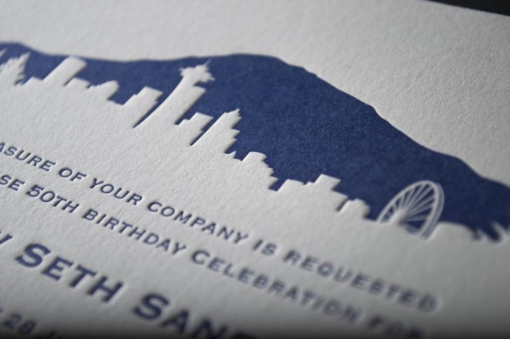 seattle wedding invitation design skyline mount rainier