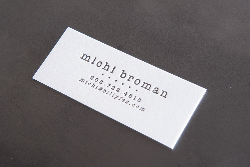 black and white letterpress business card