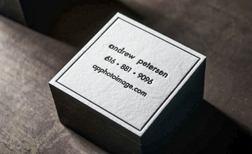 white and black letterpress business card
