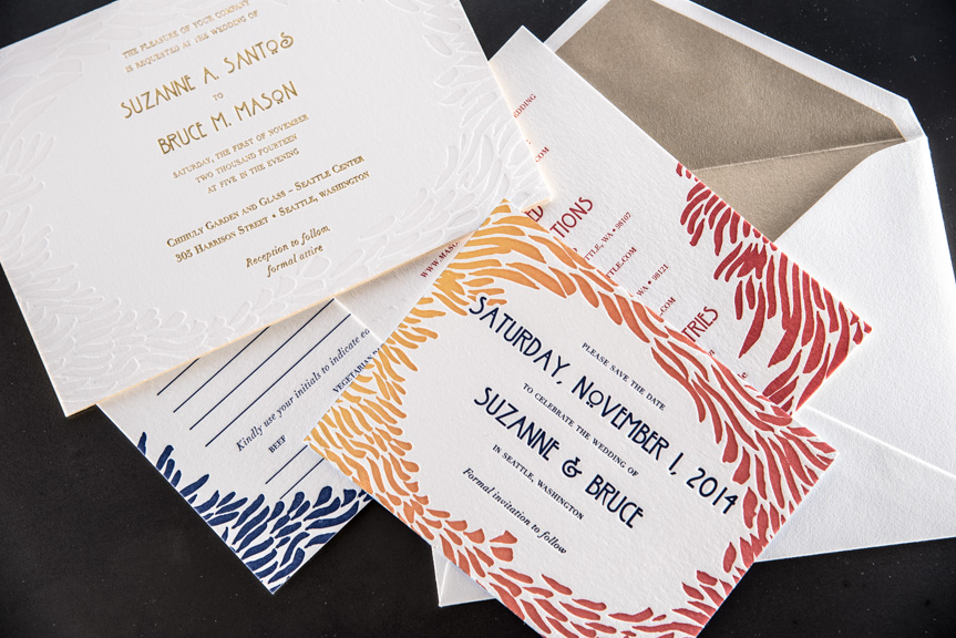 stationery rsvp info card wedding invite suite split ink fade letterpress edge painting 220 lb gold foil printing envelope liner lettra