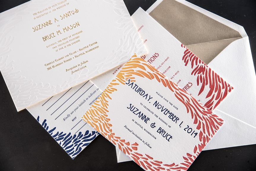 stationery rsvp info card wedding invite suite split ink fade letterpress edge painting 220 lb gold foil printing envelope liner lettra