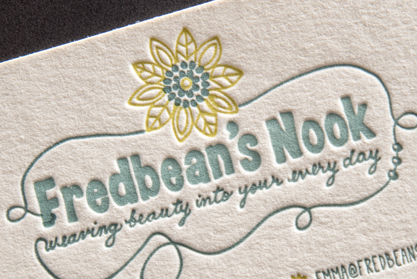 floral letterpress business card